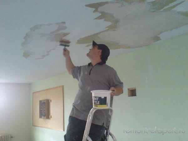 Как отремонтировать потолок после протечки своими руками