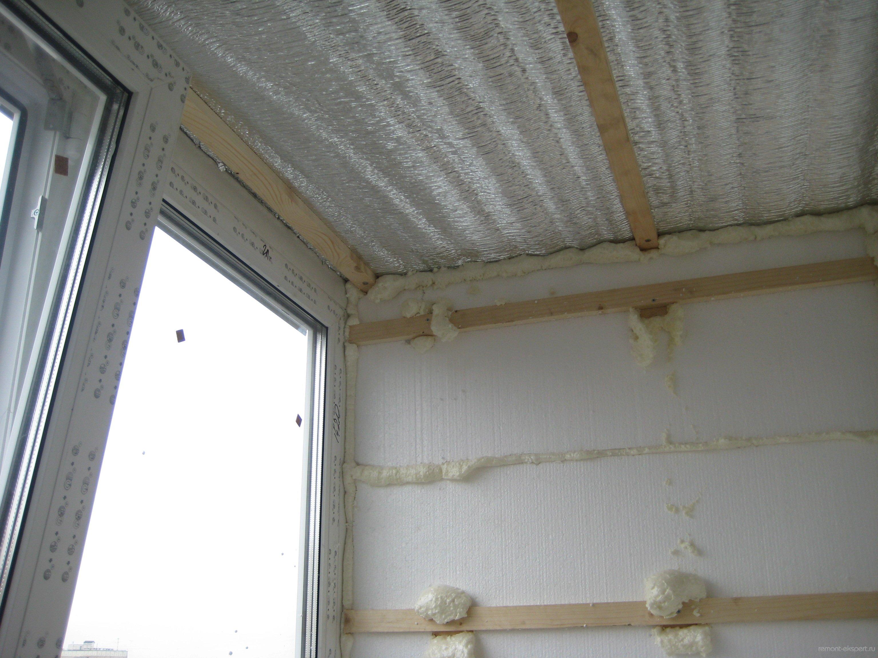Утепление потолка балкона своими руками видео
