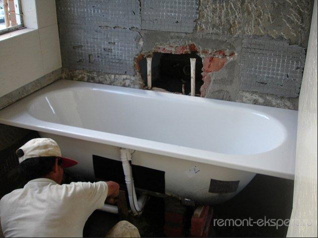 Этапы установки ванны своими