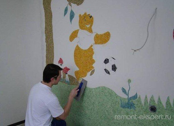 рисунок из жидких обоев в детскую комнату